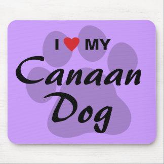 Eu amo (coração) meu cão de Canaan Mousepad