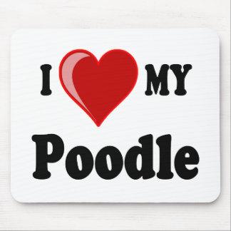 Eu amo (coração) meu cão de caniche mousepads