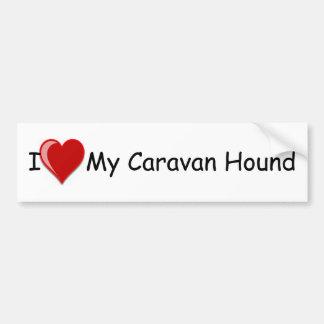 Eu amo (coração) meu cão de cão da caravana adesivo para carro