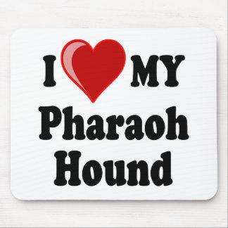 Eu amo (coração) meu cão de cão do faraó mousepad