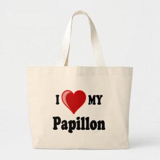 Eu amo (coração) meu cão de Papillon Bolsa Para Compra