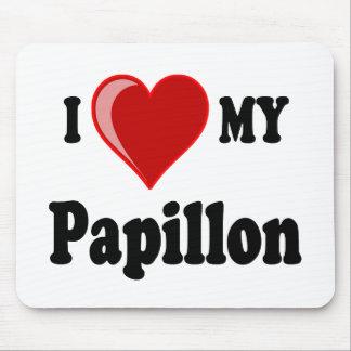 Eu amo (coração) meu cão de Papillon Mousepad