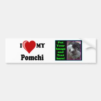Eu amo (coração) meu cão de Pomchi Adesivo Para Carro