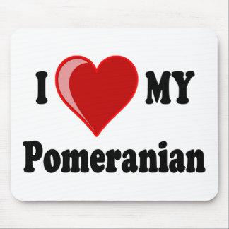 Eu amo (coração) meu cão de Pomeranian Mouse Pad