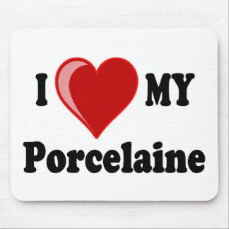 Eu amo (coração) meu cão de Porcelaine Mouse Pads
