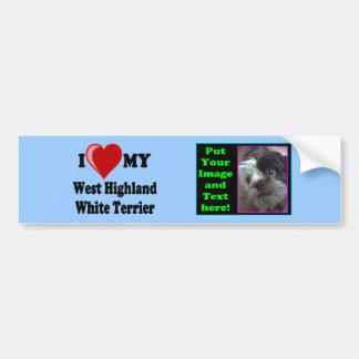 Eu amo (coração) meu cão de Terrier branco de mont Adesivo Para Carro