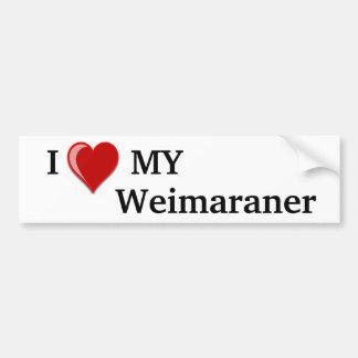 Eu amo (coração) meu cão de Weimaraner Adesivo Para Carro