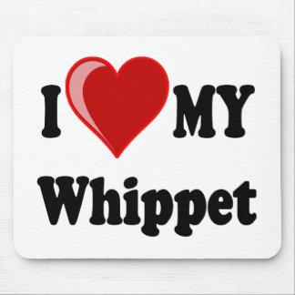 Eu amo (coração) meu cão de Whippet Mousepads