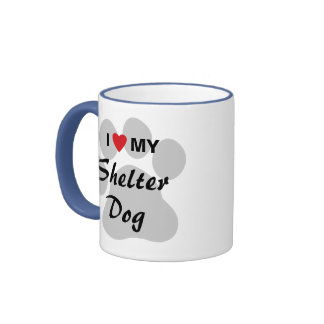 Eu amo (coração) meu cão do abrigo canecas