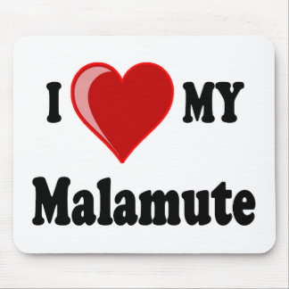 Eu amo (coração) meu cão do Malamute Mousepad