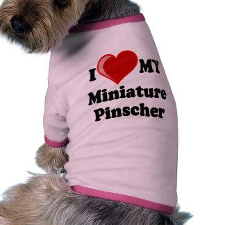 Eu amo (coração) meu cão do Pinscher diminuto Camisas Para Cães