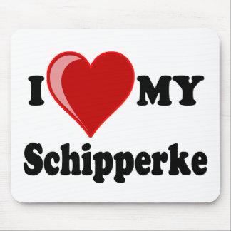 Eu amo (coração) meu cão do Schipperke Mousepad