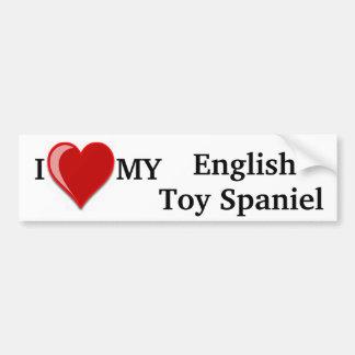 Eu amo (coração) meu cão do Spaniel de brinquedo i Adesivo Para Carro
