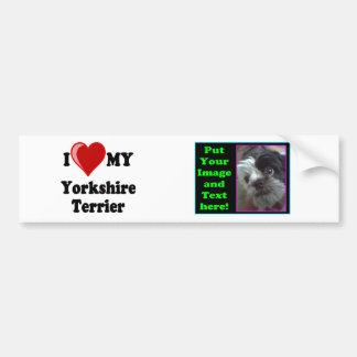 Eu amo (coração) meu cão do yorkshire terrier adesivo para carro