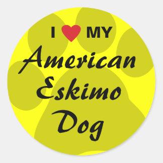 Eu amo (coração) meu cão Eskimo americano Adesivo