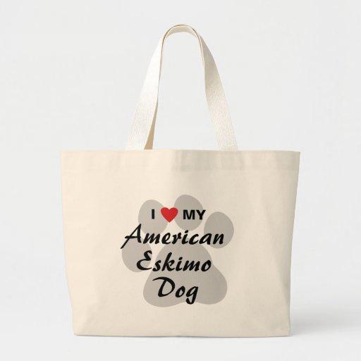 Eu amo (coração) meu cão Eskimo americano Bolsa De Lona