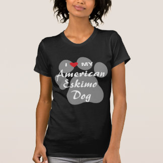 Eu amo (coração) meu cão Eskimo americano T-shirt