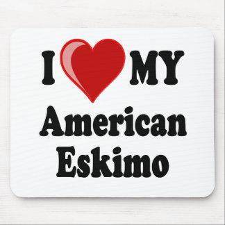 Eu amo (coração) meu cão Eskimo americano Mouse Pad