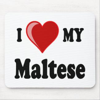 Eu amo (coração) meu cão maltês mousepads
