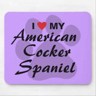Eu amo (coração) meu cocker spaniel americano mousepads