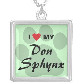 Eu amo (coração) meu design de Don Sphynx Pawprint Colar Banhado A Prata