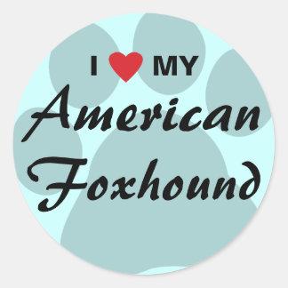 Eu amo (coração) meu Foxhound americano Adesivo