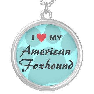 Eu amo (coração) meu Foxhound americano Colar Com Pendente Redondo