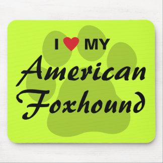 Eu amo (coração) meu Foxhound americano Mouse Pad