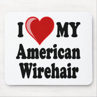 Eu amo (coração) meu gato americano de Wirehair Mouse Pad