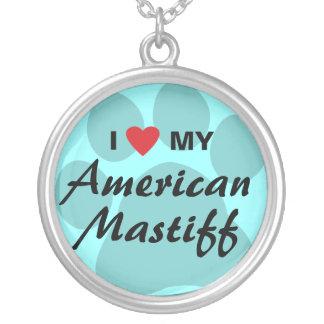 Eu amo (coração) meu Mastiff americano Colar Com Pendente Redondo