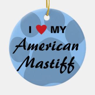 Eu amo (coração) meu Mastiff americano Ornamento De Cerâmica Redondo