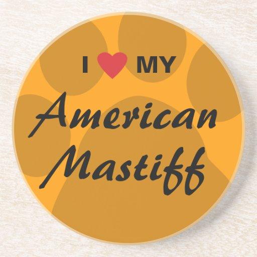 Eu amo (coração) meu Mastiff americano Porta Copo Para Bebidas