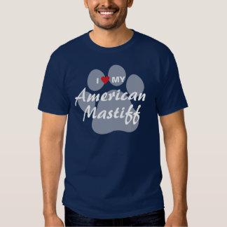 Eu amo (coração) meu Mastiff americano T-shirts