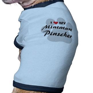 Eu amo (coração) meu Pinscher diminuto Pawprint Camisetas Para Cães