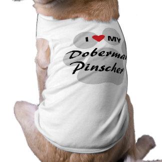 Eu amo (coração) meu Pinscher Pawprint do Doberman Camisa Sem Mangas Para Cachorro