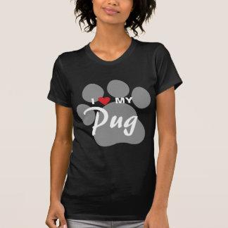 Eu amo (coração) meu Pug Pawprint Tshirts