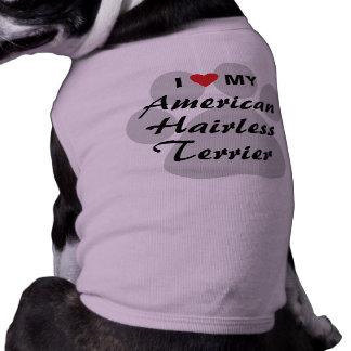 Eu amo (coração) meu Terrier calvo americano Camiseta Para Cães
