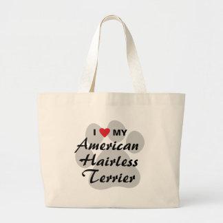 Eu amo (coração) meu Terrier calvo americano Bolsas De Lona
