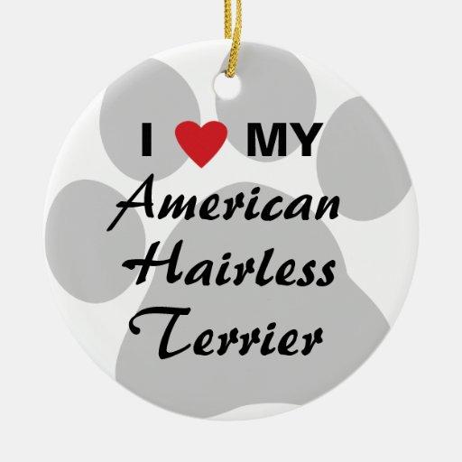 Eu amo (coração) meu Terrier calvo americano Ornamento