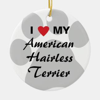 Eu amo (coração) meu Terrier calvo americano Ornamento De Cerâmica Redondo