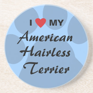 Eu amo (coração) meu Terrier calvo americano Porta-copo