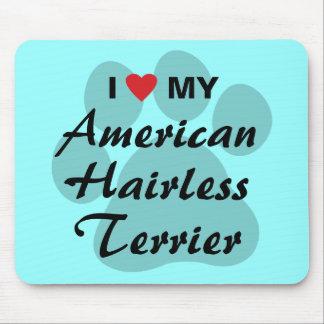 Eu amo (coração) meu Terrier calvo americano Mouse Pads