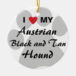 Eu amo (coração) meus preto e cão austríacos de enfeites para arvores de natal
