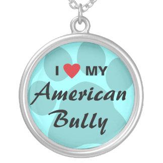Eu amo (coração) minha intimidação americana colar com pendente redondo