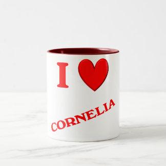 Eu amo Cornelia Caneca De Café Em Dois Tons