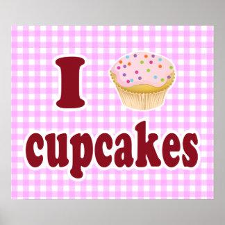 Eu amo cupcakes impressão