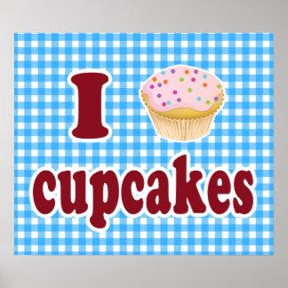 Eu amo cupcakes pôsteres