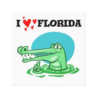 eu amo desenhos animados engraçados do crocodilo impressão em canvas