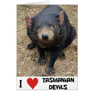 Eu amo diabos tasmanianos cartão comemorativo