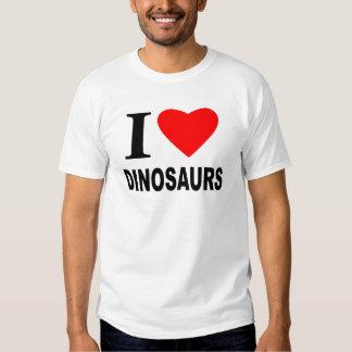 Eu amo dinossauros camisetas